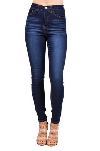 KAN CAN Women's High Rise Skinny Jeans Dark Wash KC5002D