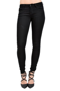 Kan Can Women's Mid Rise Skinny Jeans Black KC5003BK