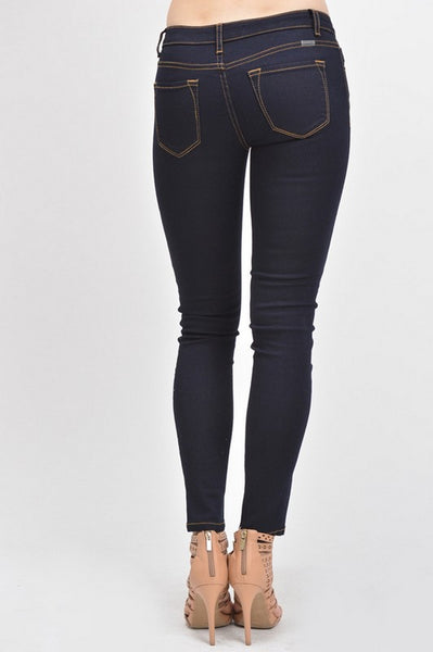 Kan Can Women's Mid Rise Skinny Jeans Dark Denim  KC5003QH