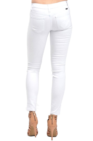 Kan Can Women's Mid Rise Skinny Jeans White  KC5003WT