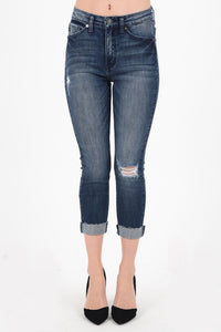 Kan Can Women's High Rise Destroyed Capri Jeans Dark Wash KC5019D