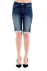 Kan Can Women's Mid Rise Bermuda Jeans Dark Wash  KC5020D