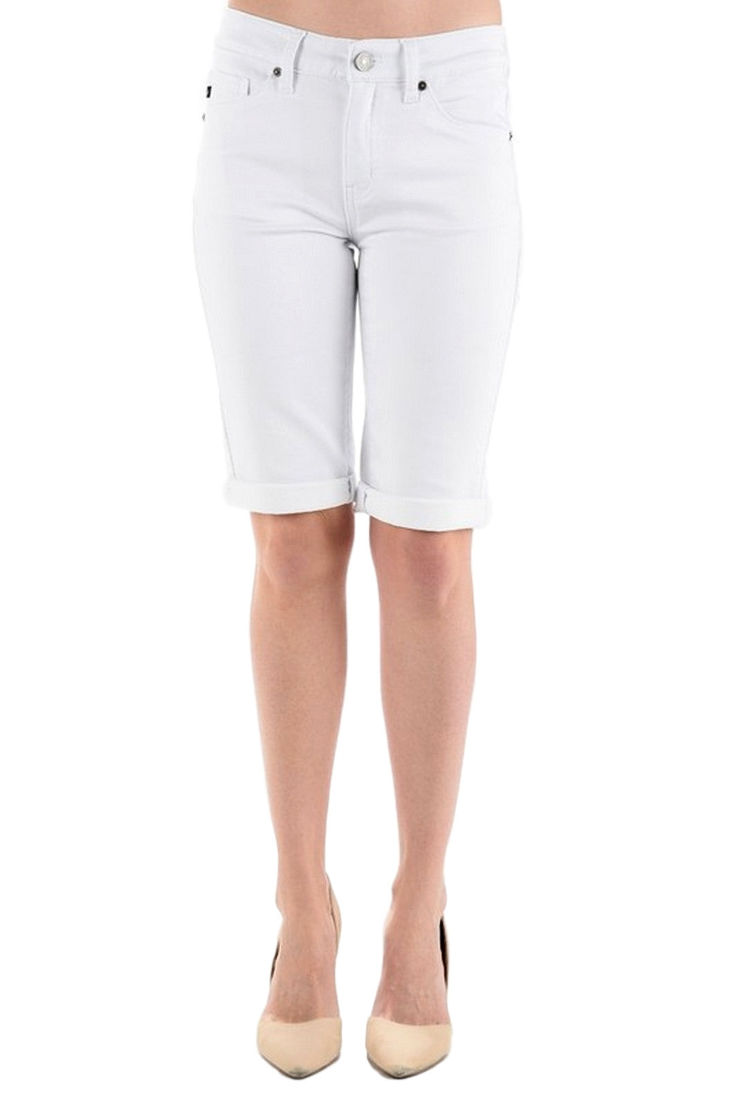 Kan Can Women's Mid Rise Bermuda Jeans White  KC5020WT