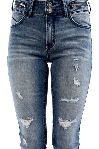 Kan Can Women's Mid Rise Destroyed Skinny Jeans Dark Wash KC5038D