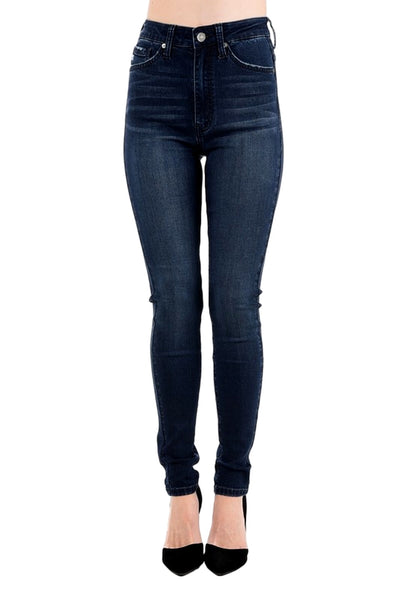 Kan Can Women's High Rise Skinny Jeans Dark Blue  KC5039ND