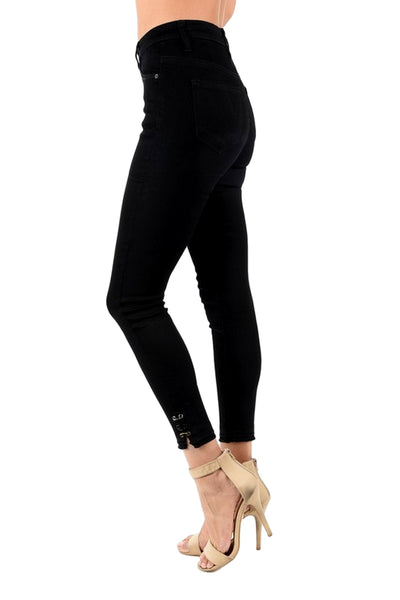 Kan Can Women's High Rise Destroyed Cropped Skinny Jeans Black KC5077BK