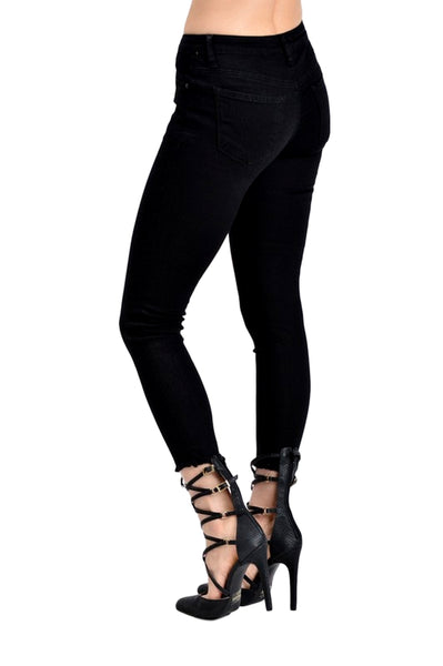 Kan Can Women's Mid Rise Super Skinny Distressed Jeans Black