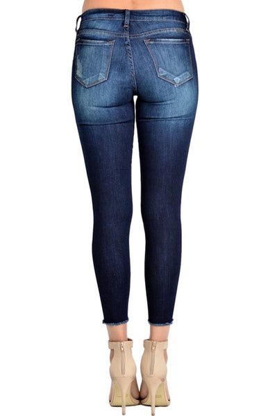 Kan Can Women's Mid Rise Destroyed Skinny Jeans Dark Wash  KC6003D