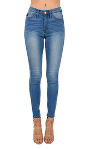 Kan Can Women's High Rise Skinny Jeans Medium Wash KC6009MH