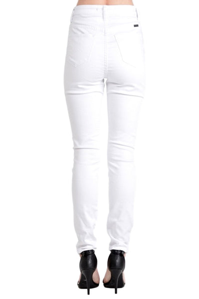 Kan Can Women's High Rise Skinny Jeans White  KC6009WT