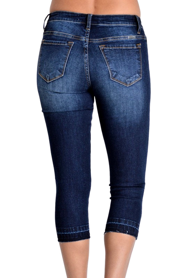 Kan Can Women's  Mid Rise Destroyed Skinny Capri Dark Wash  KC6021D