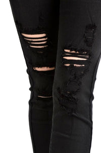 Kan Can Women's Mid Rise Destroyed Skinny Jeans Black  KC6040BK