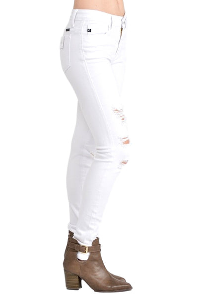 Kan Can Women's Mid Rise Destroyed Skinny Jeans White KC6040WT