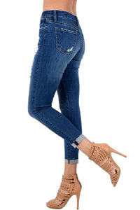 Kan Can Women's Mid Rise Destroyed Cropped Skinny Jeans  KC6050