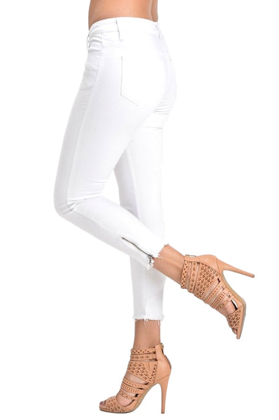 Kan Can Women's Low Rise Ankle Skinny Jeans - Hem Detail - KC6051WT
