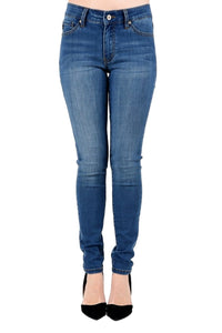 KAN CAN Women's Mid Rise Skinny Jeans Medium Wash  KC6067EXM