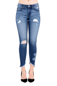 Kan Can Women's Mid Rise Destroyed Skinny Jeans Dark Wash  KC6108D