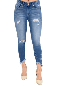 Kan Can Women's Mid Rise Destroyed Skinny Jeans Medium Wash KC6108M