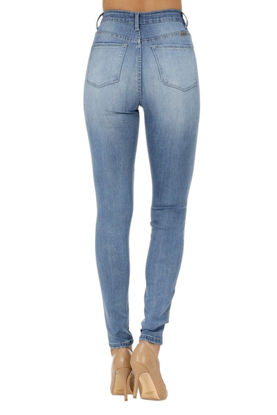 Kan Can Women's High Rise Destroyed Skinny Jeans Medium Wash KC6223M
