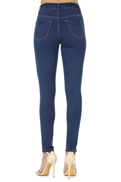 Kan Can Women's High Rise Skinny Jeans Medium Wash KC663M