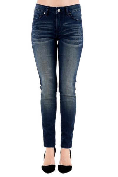 Kan Can Women's Mid Rise Skinny Jeans Dark Wash  KC7085BG