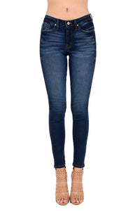 Kan Can Women's Mid Rise Skinny Jeans Dark Wash  KC7085GH