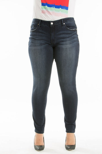 Kan Can Mid Waist Plus Size Skinny Jeans Dark Wash  KC7085HRD-BIG