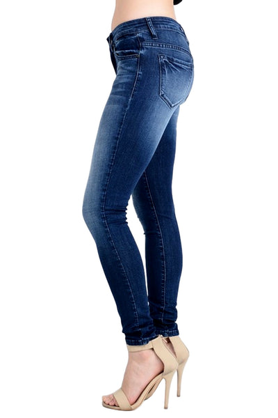 Kan Can Women's Mid Rise Skinny Jeans Rinse Wash KC7085HRM