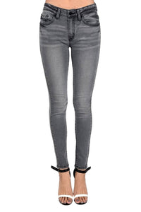 Kan Can Women's Mid Rise Skinny Jeans Light Grey  KC7085LG