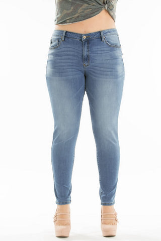 Kan Can Mid Waist Plus Size Skinny Jeans Light Wash  KC7085LGH-BIG