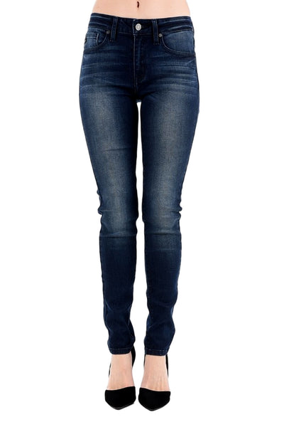 Kan Can Women's Mid Rise Skinny Jeans Dark Wash  KC7085LN