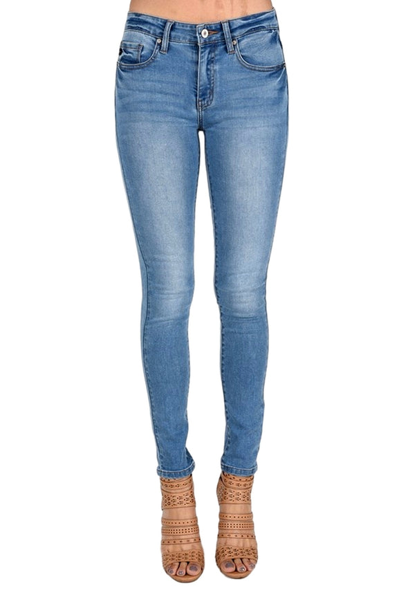 Kan Can Women's Mid Rise Skinny Jeans Medium Wash  KC7085LY