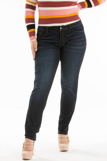Kan Can Mid Waist Plus Size Skinny Jeans Dark Wash  KC7092BIG