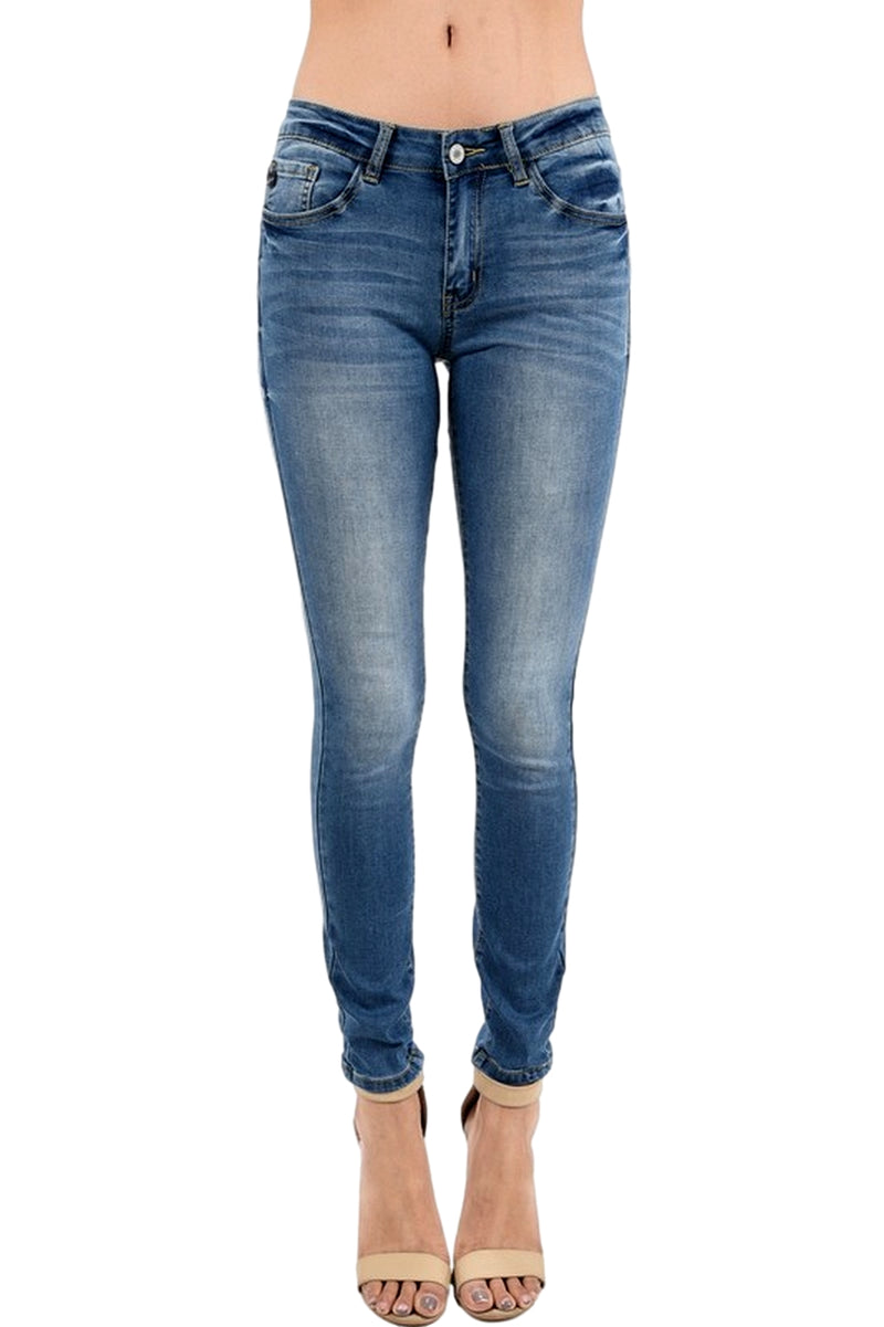Kan Can Women's Mid Rise Super Skinny Jeans Medium Wash  KC7092CM