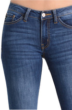Kan Can Women's Skinny Jeans Dark Denim KC7092D