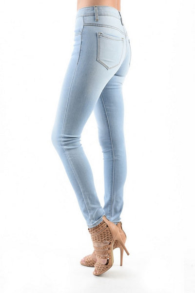 Kan Can Women's Mid Rise Skinny Jeans Light Wash  KC7092L