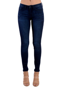 Kan Can Women's Mid Rise Skinny Jeans Dark Wash KC7092N