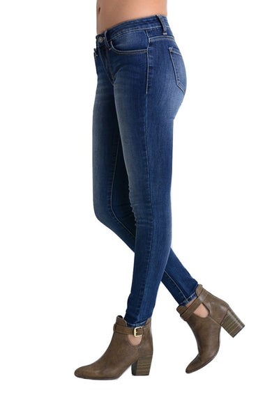 Kan Can Women's Mid Rise Skinny Jeans Darkstone KC7092YT