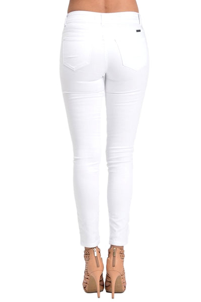 Kan Can Women's Mid Rise Skinny Jeans White  KC7097WT
