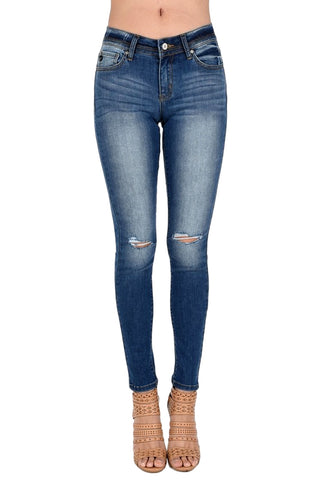 Kan Can Women's Mid Rise Destroyed Skinny Jeans Dark Wash KC7201D