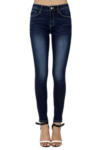 Kan Can Women's Mid Rise Super Skinny Jeans Dark Wash  KC7256DJD