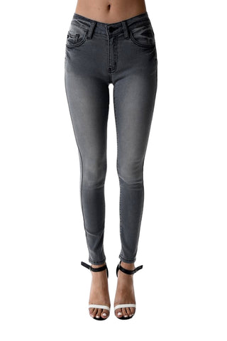 Kan Can Women's Mid Rise Super Skinny Jeans Light Grey KC7256LG