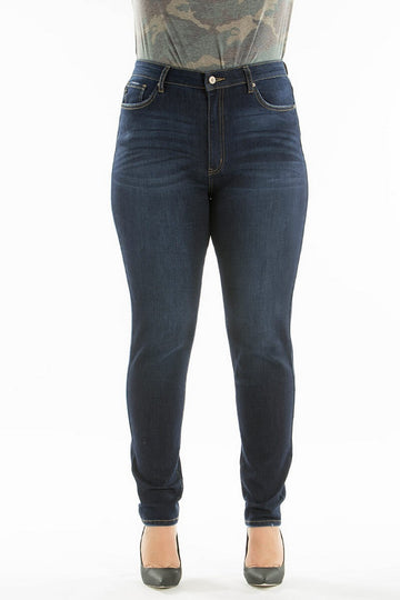 Kan Can Hight Waist Plus Size Skinny Jeans Dark Wash   KC7264RH-BIG