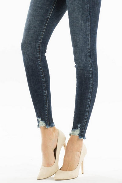 Kan Can Women's High Rise Skinny Jeans Dark Wash   KC7274D