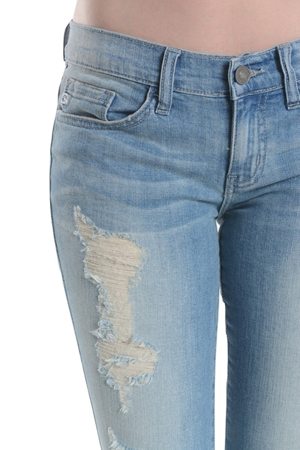 Kan Can Women's Destroyed Skinny Jeans Medium Wash