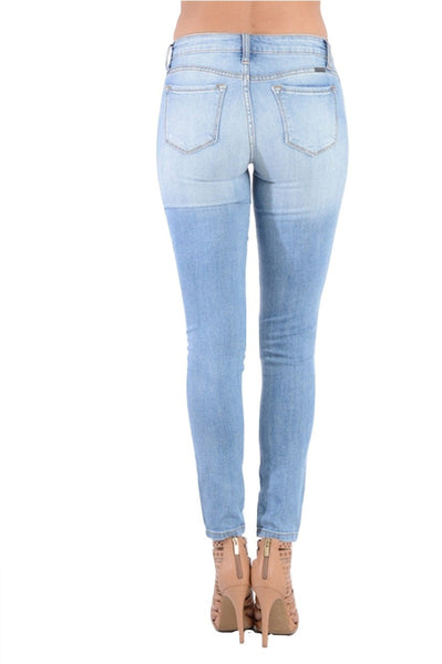 Kan Can Women's Destroyed Skinny Jeans Light Blue