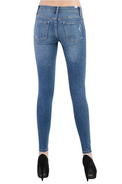 Kan Can Women's Destroyed Skinny Jeans Medium Denim