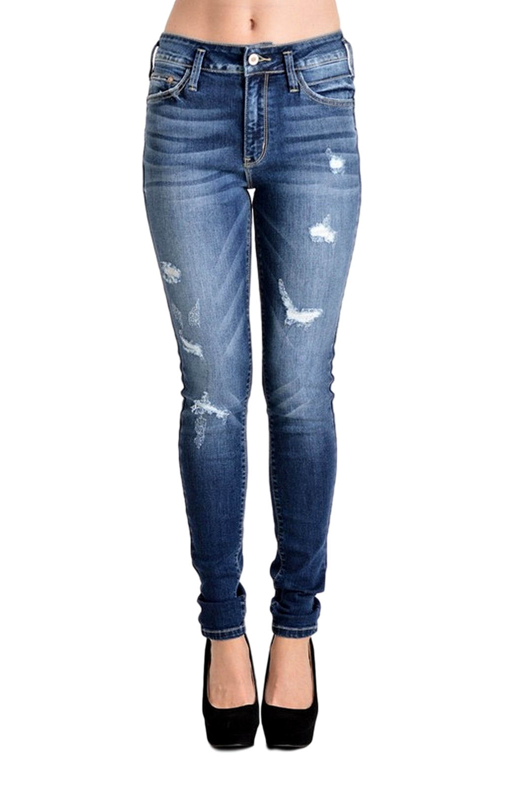 Kan Can Women's High Rise Destroyed Skinny Jeans Dark Wash KC8227D