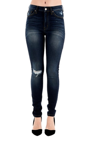 Kancan Women's High Rise Destroyed Skinny Jeans Dark Wash KC8284D