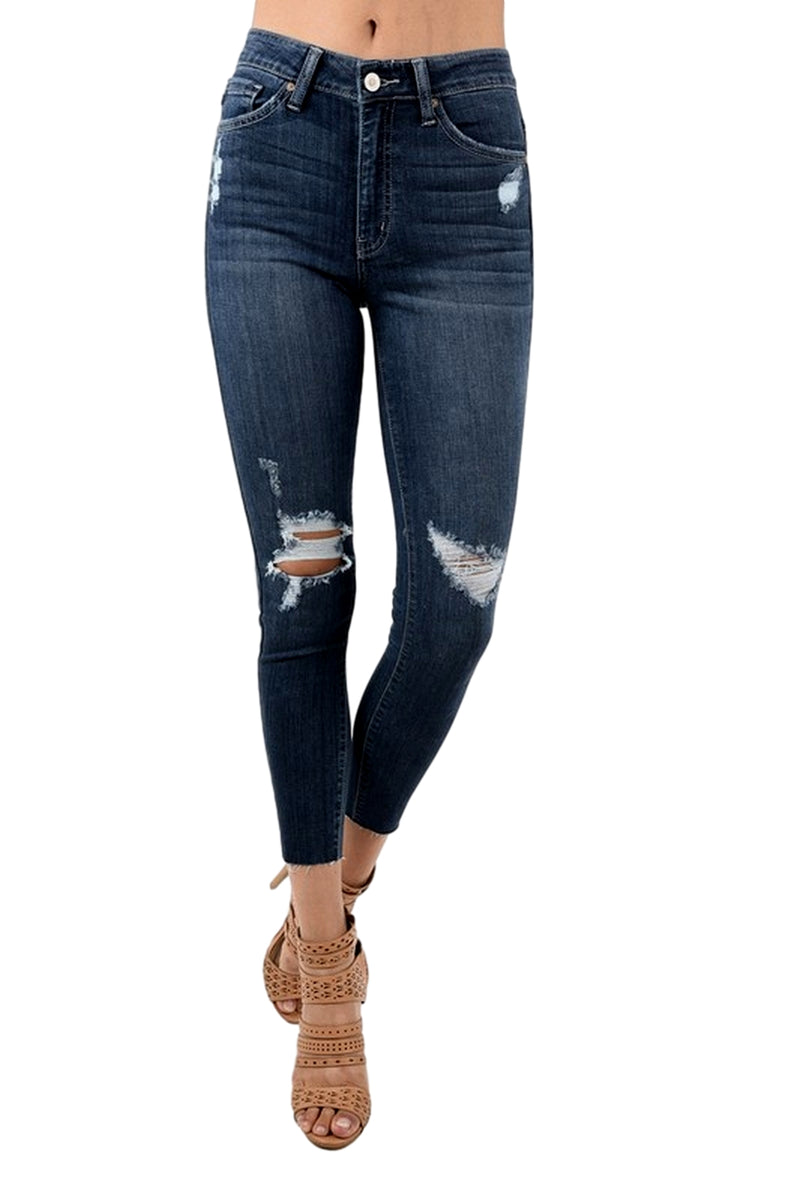 Kan Can Women's High Rise Destroyed Cropped Skinny Jeans Dark Wash  KC8314D